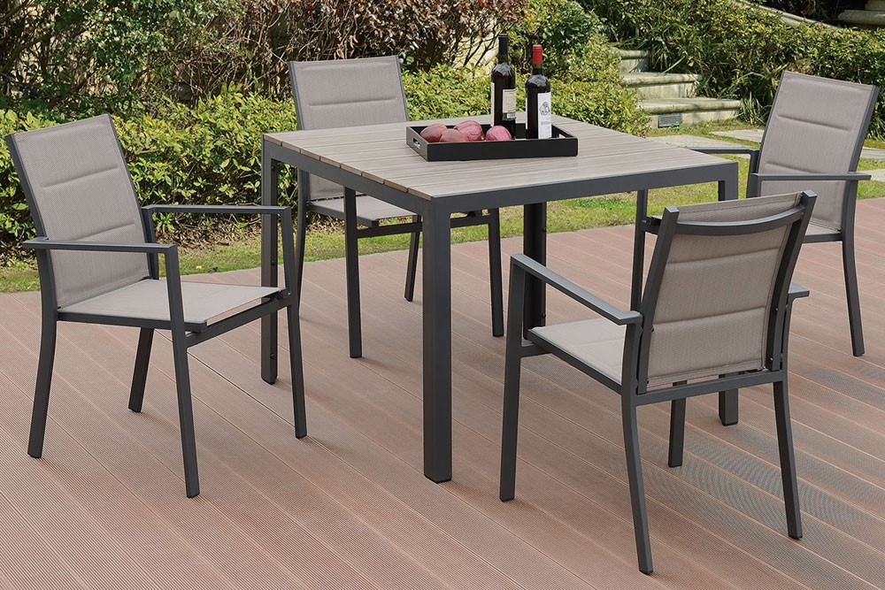 Jaxon Outdoor 5 Piece Dining Table Set With Regard To Recent Jaxon 7 Piece Rectangle Dining Sets With Wood Chairs (View 8 of 20)