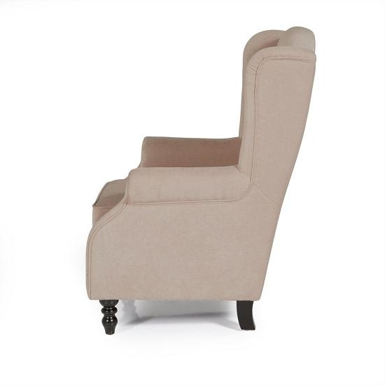 Jaxon Wood Side Chairs Regarding 2018 Jaxon Modern Sofa Chair In Mink Fabric With Wooden Legs (View 18 of 20)