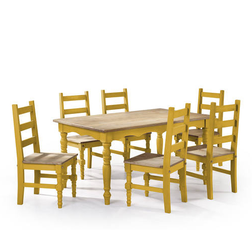 Jay Yellow Wash 7 Piece Solid Wood Dining Setmanhattan Comfort With 2018 Walden 7 Piece Extension Dining Sets (Gallery 19 of 20)