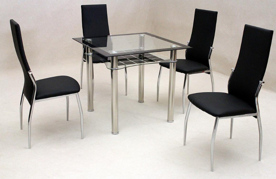 Jazo Black Dining Table Chrome 4 Lazio Chairs • Omg Selections For Favorite Lazio Dining Tables (View 4 of 20)
