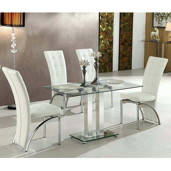 Jet Small Clear Glass Dining Table With 4 Ravenna White For Trendy Glass Dining Tables White Chairs (Gallery 18 of 20)