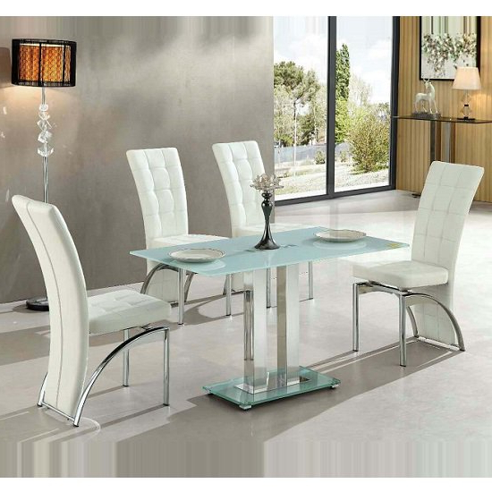 Jet Small White Glass Dining Table With 4 Ravenna White Throughout Recent White Glass Dining Tables And Chairs (View 3 of 20)