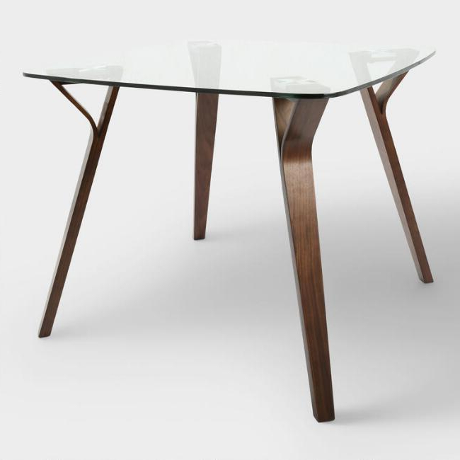 Joel Glass Wood Mid Century Dining Table Pertaining To 2018 Curved Glass Dining Tables (View 13 of 20)