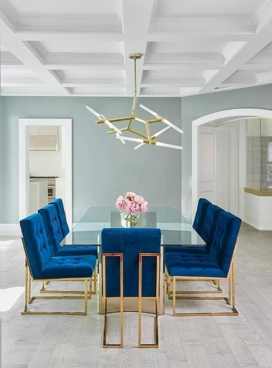 Jonathan Adler Goldfinger Blue Velvet Dining Chairs Frame A Stunning Regarding Best And Newest Blue Glass Dining Tables (Gallery 7 of 20)