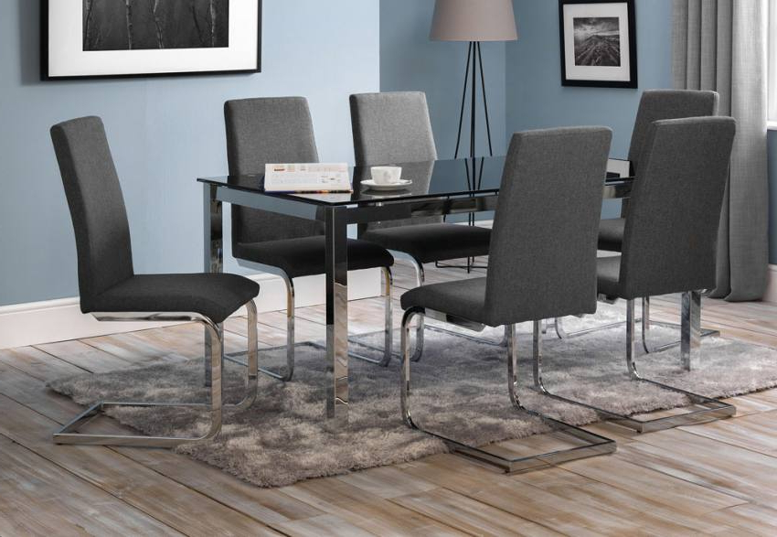 Julian Bowen – Tempo Dining Table & Roma Dining Chairs – Black Glass Pertaining To Recent Roma Dining Tables And Chairs Sets (View 4 of 20)