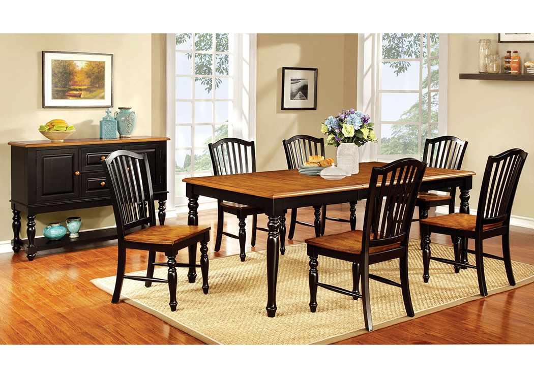Justin's Furniture Company Mayville Black/antique Oak Extension Intended For Well Liked Craftsman 7 Piece Rectangle Extension Dining Sets With Side Chairs (View 12 of 20)