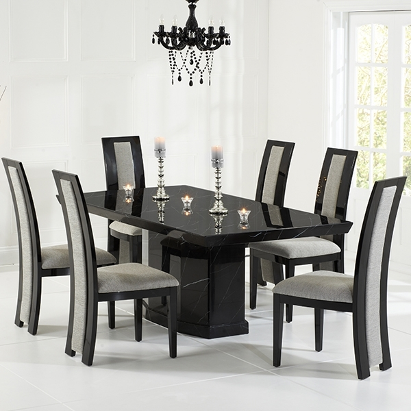 Kamila Black Marble Dining Table With 6 Chairs – Robson Furniture Inside Most Up To Date Black Dining Tables (View 13 of 20)