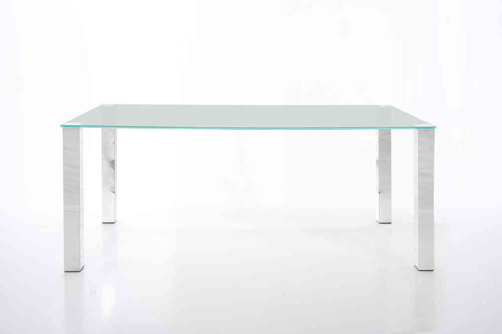 Kante Large 140Cm Glass Dining Table With Chrome Legs – Homestreet With Regard To Most Recent Dining Tables With Large Legs (Gallery 20 of 20)