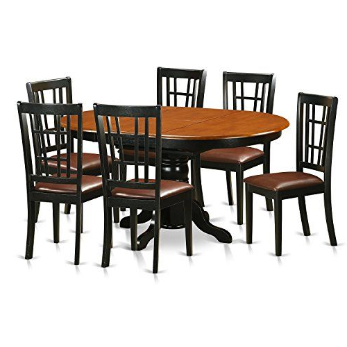 Keni7 Bch W Keni7 Bch 7 Pc Kitchen Table Set Dining Table And 6 Pertaining To Famous Laurent 7 Piece Rectangle Dining Sets With Wood And Host Chairs (View 8 of 20)