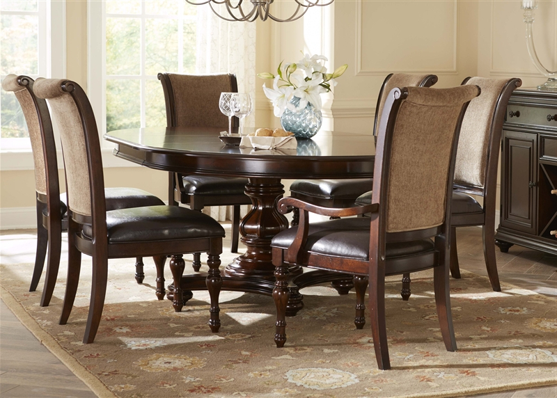 Kingston Dining Tables And Chairs Inside Widely Used Kingston Plantation Oval Pedestal Table 5 Piece Dining Set In Hand (View 9 of 20)