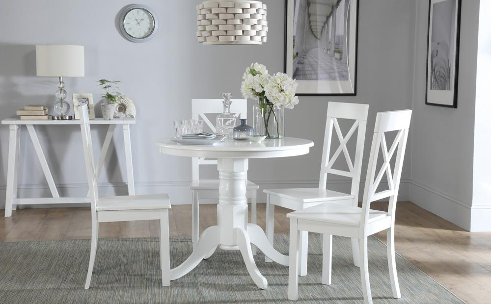 Kingston Dining Tables And Chairs Regarding 2018 Kingston Round White Dining Table With 4 Kendal Chairs Only £279.99 (Gallery 2 of 20)