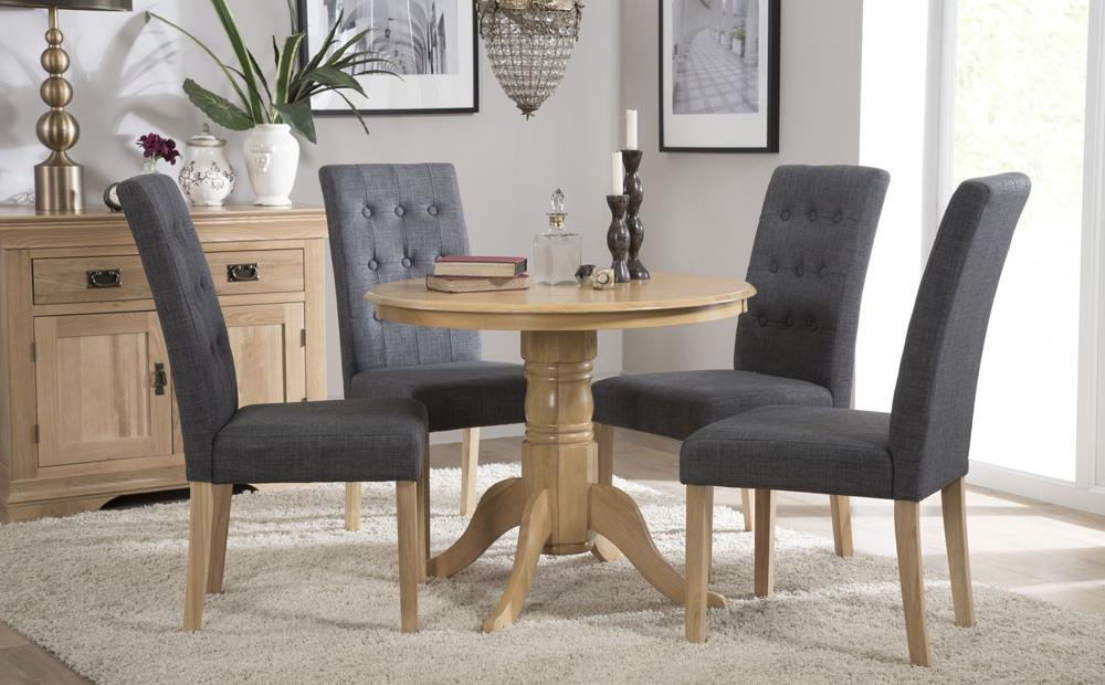 Kingston Round Oak Dining Table With 4 Regent Slate Chairs Only Throughout Most Popular Round Oak Dining Tables And 4 Chairs (Gallery 15 of 20)