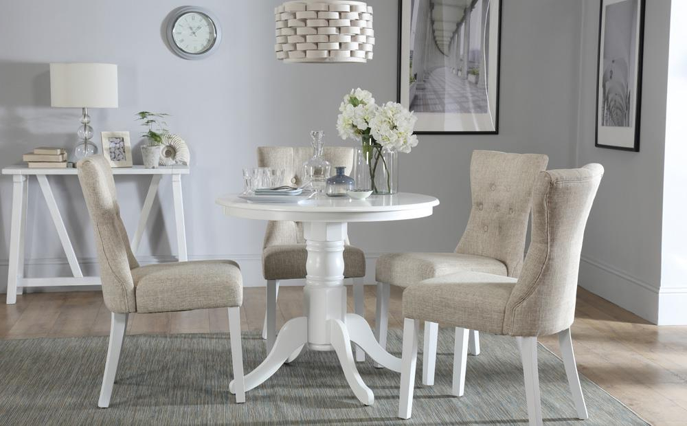 Kingston Round White Dining Table With 4 Bewley Oatmeal Chairs Only Intended For Preferred Kingston Dining Tables And Chairs (Gallery 4 of 20)