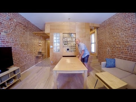 Kirsten 5 Piece Dining Sets Within Latest Fluid Nyc Flat Uses Sliding Furniture To Create 3 Rooms In 1 – Youtube (View 12 of 20)