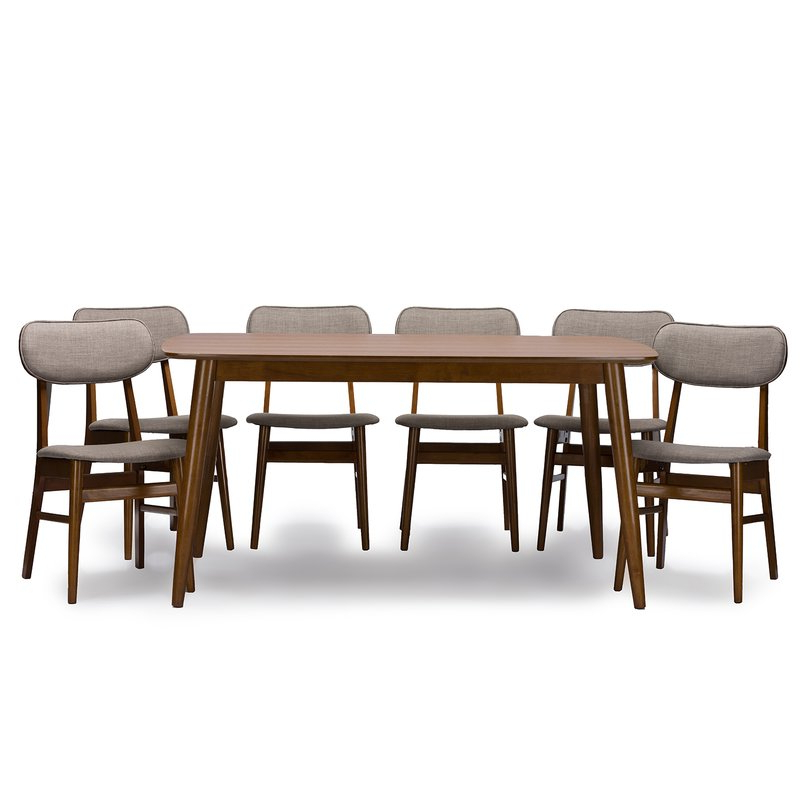 Kirsten 6 Piece Dining Sets For Trendy Wholesale Interiors Baxton Studio Sacramento 7 Piece Dining Set (View 4 of 20)