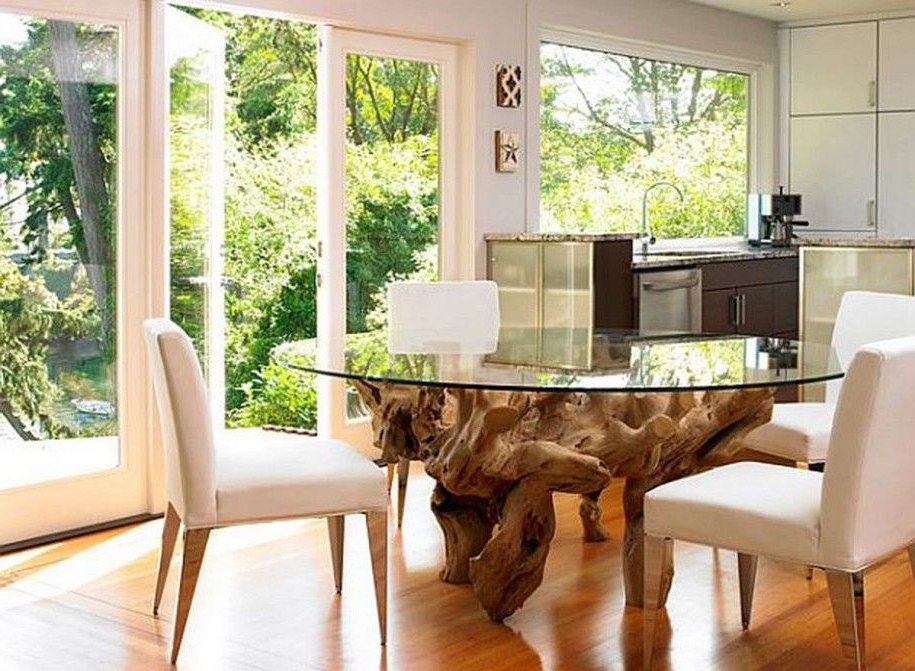 Kitchen Dining Tables: Oak Root Leg Round Glass Dining Table Small Regarding Newest Round Glass Dining Tables With Oak Legs (View 7 of 20)