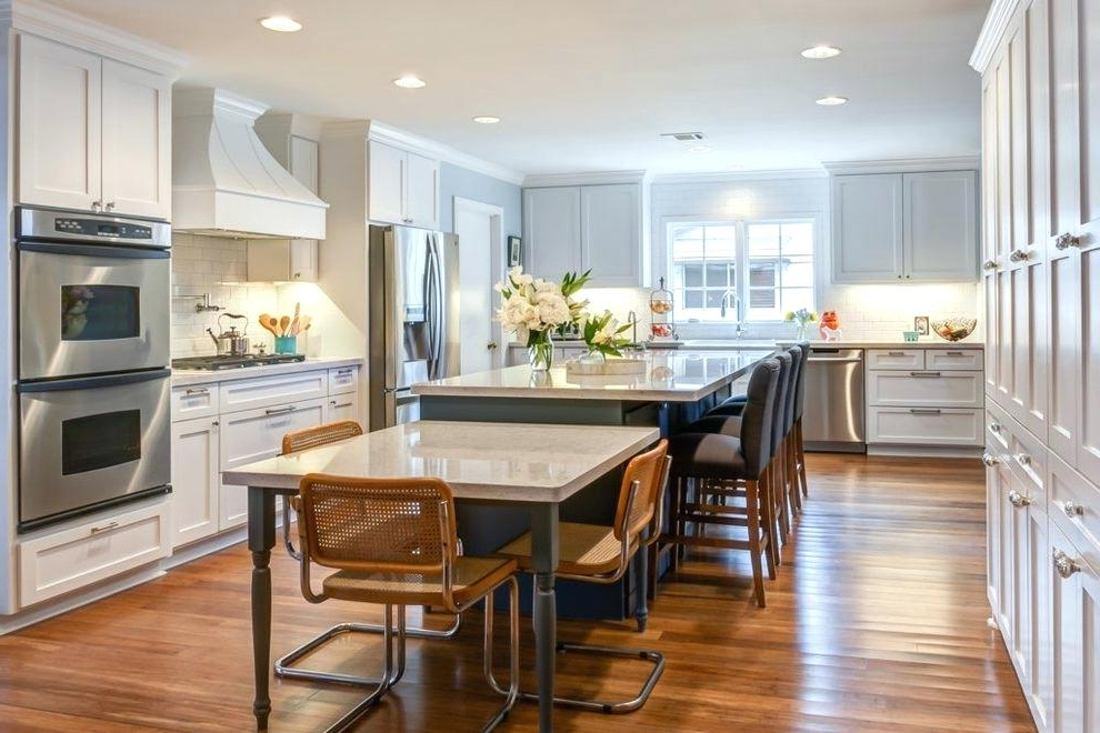 Kitchen Island With Table Attached – Jenniferlorton Within Most Recently Released Dining Tables With Attached Stools (View 11 of 20)