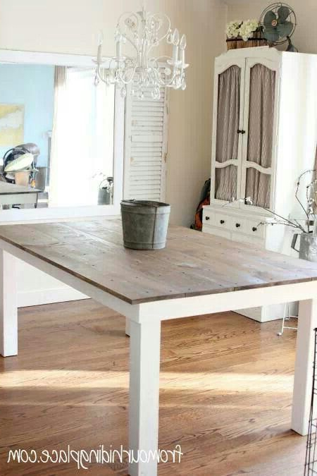 Kitchen Table Wood Top With White Legs. (Gallery 1 of 20)