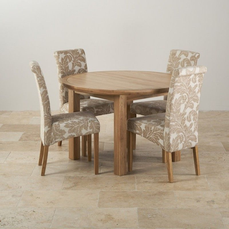 Knightsbridge Natural Oak Dining Set – 4Ft Round Extending Table & 4 Within Latest Round Extending Oak Dining Tables And Chairs (Gallery 18 of 20)