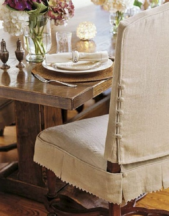Knowing How To Make Dining Chair Slipcover: Beautiful Dining Room Intended For Well Liked Garten Linen Skirted Side Chairs Set Of (View 12 of 20)