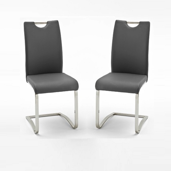 Koln Dining Chair In Grey Faux Leather In A Pair 26660 Throughout Well Liked Grey Leather Dining Chairs (Gallery 3 of 20)