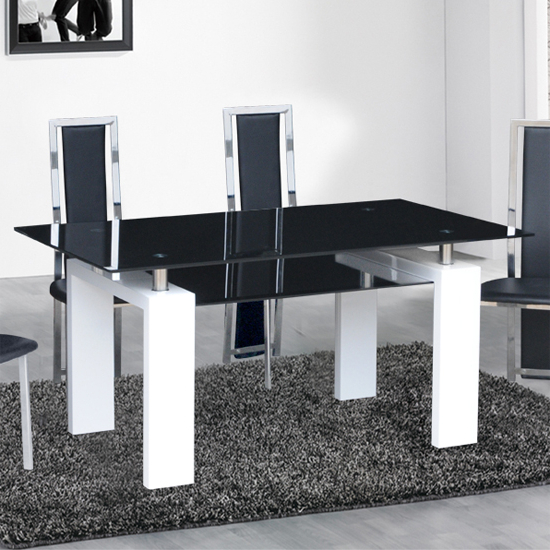 Kontrast Dining Table In Black Glass With White Gloss Legs Inside Newest Metro Dining Tables (View 6 of 20)