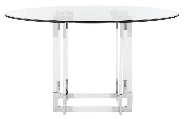 Koryn Round Acrylic Chrome Dining Table Intended For Fashionable Chrome Dining Tables (View 20 of 20)