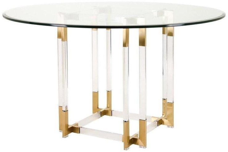 Koryn Round Glass Gold Acrylic Dining Table For Recent Acrylic Round Dining Tables (View 3 of 20)