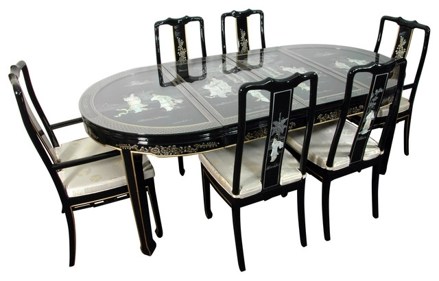Lacquer 7 Piece Dining Room Set, Black Mother Of Pearl – Asian Regarding Most Recent Asian Dining Tables (View 8 of 20)