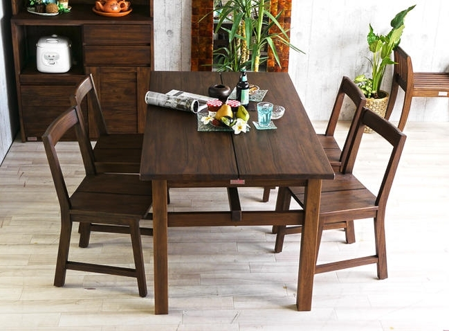 Landmark: 4 Person Dining Set For Dining 5 Point Set Teak Solid Wood Inside Famous Bali Dining Sets (Gallery 18 of 20)