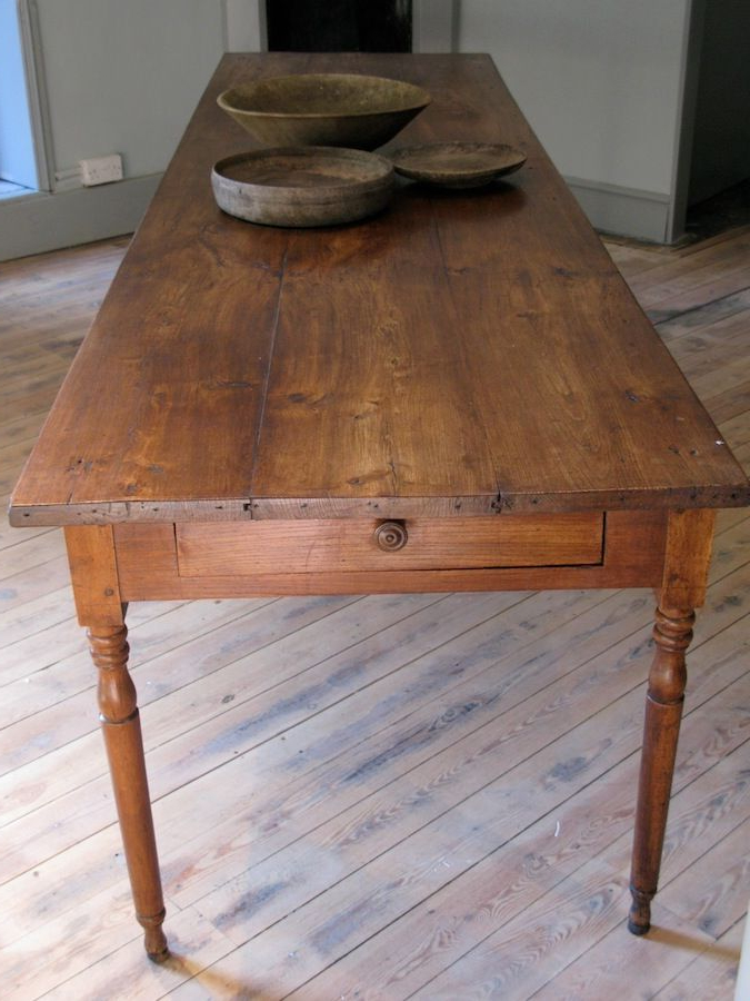 Large 19Th Cent French Farmhouse Antique Dining Table In Elm – Like Throughout Well Known French Farmhouse Dining Tables (View 18 of 20)
