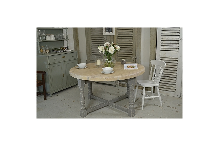 Large Folding Dining Tables Intended For Latest Large Round Shabby Chic Farmhouse Folding Dining Table (White, Grey (Gallery 12 of 20)