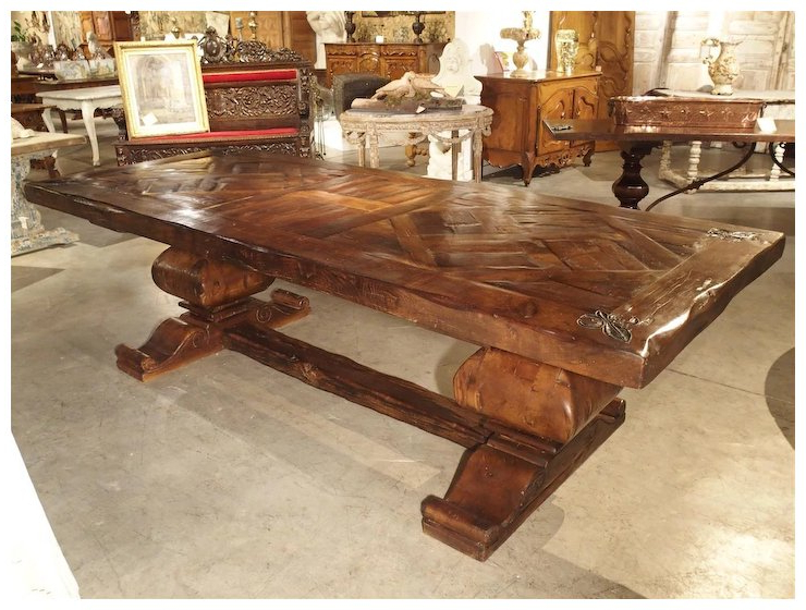 Large French Oak Dining Table With Parquet Top And Fleur De Lys : Le With Fashionable Parquet 6 Piece Dining Sets (View 4 of 20)