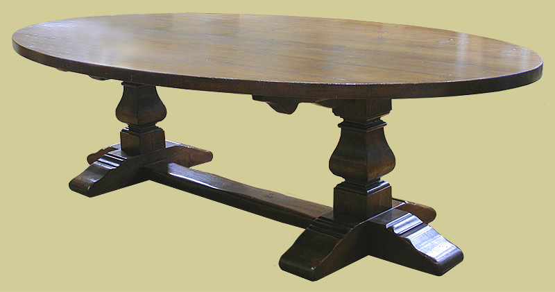 Large Oval Oak Pedestal Dining Table With Square Cut Legs Regarding Popular Dining Tables With Large Legs (View 16 of 20)
