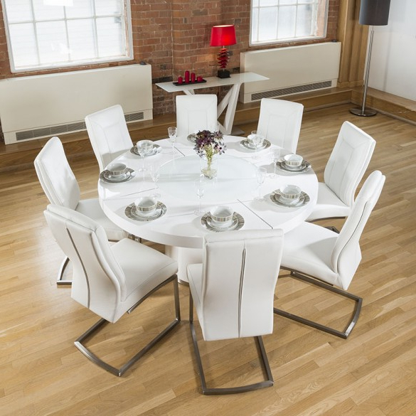Large Round White Gloss Dining Table Lazy Susan, 8 White Chairs 4110 Within Most Recent Large White Round Dining Tables (View 8 of 20)