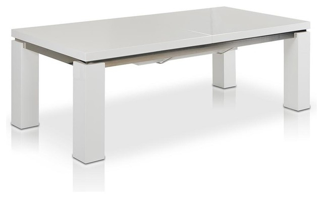 """Large White Gloss Dining Tables With Regard To Well Known Maxi 78"""" 126"""" High Gloss White Extendable Dining Table – Modern (View 10 of 20)"""