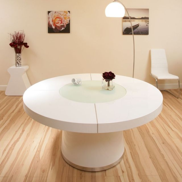 Large White Gloss Dining Tables With Widely Used Large White Gloss Dining Table Glass Lazy Susan Led Lighting (View 19 of 20)