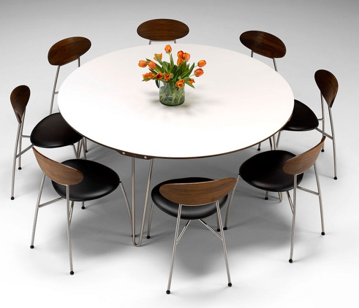 Large White Round Dining Tables Intended For Trendy Round Dining Table For 10 : Classic Dining Room Design With Large (View 20 of 20)