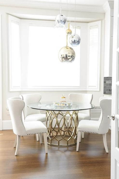 Lassen 5 Piece Round Dining Sets Regarding Best And Newest Gorgeous Dining Room Features Staggered Brass, Glass, And Chrome (Gallery 19 of 20)