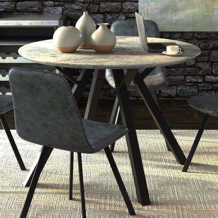 Lassen 5 Piece Round Dining Sets Throughout Popular Aden Dining Table In  (View 8 of 20)