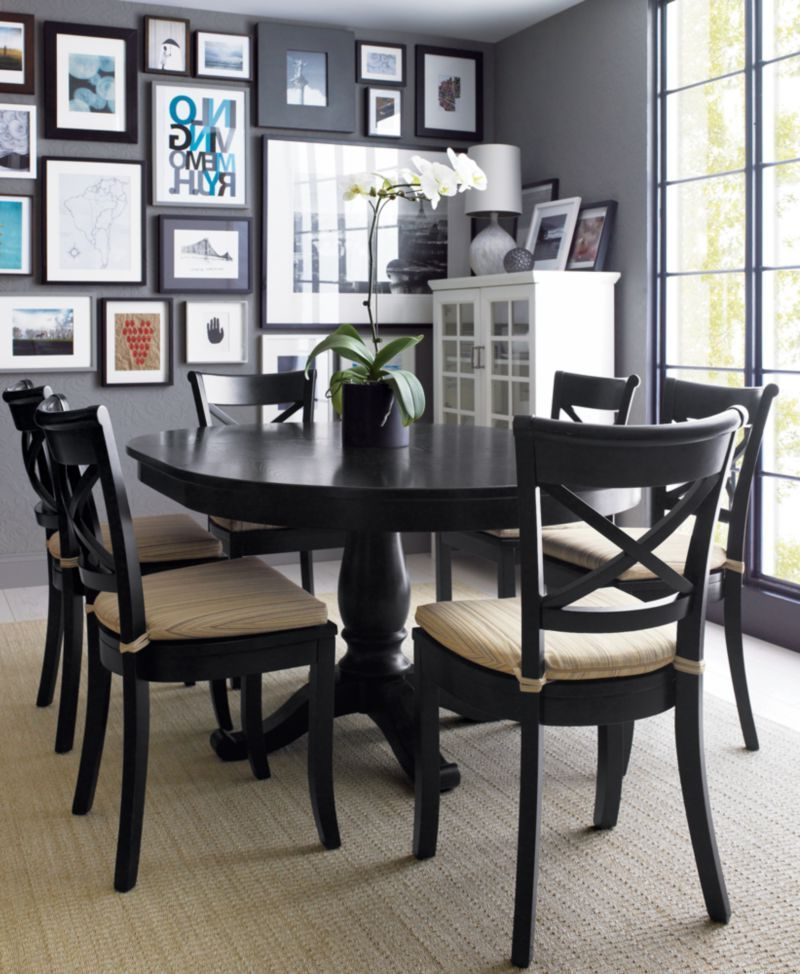 Lassen Extension Rectangle Dining Tables Within Favorite Vintner Black Wood Dining Chair And Cushion (View 13 of 20)