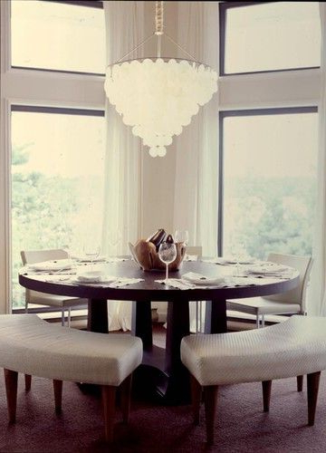 Lassen Round Dining Tables Intended For Best And Newest Love The Benches Mixed With Chairs. Fun Idea For A Round Table (Gallery 15 of 20)