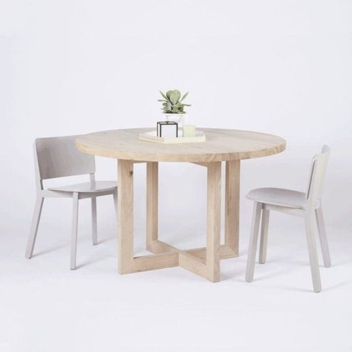Lassen Round Dining Tables Pertaining To Well Known Designer Alexandria Black Steel Industrial Dining Table  Oak Timber Top (View 9 of 20)