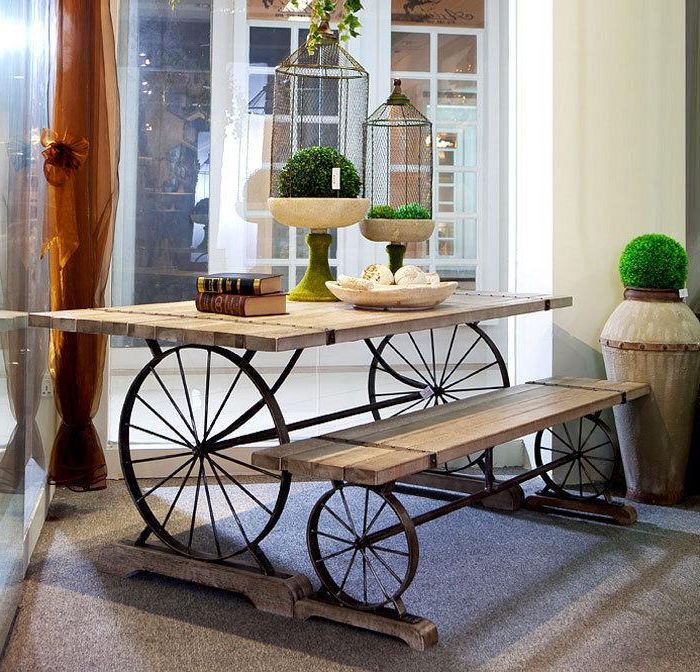 Latest 2018 New Retro Wrought Iron Wood Dining Tables And Chairs Cafe Bar Inside Iron And Wood Dining Tables (Gallery 13 of 20)