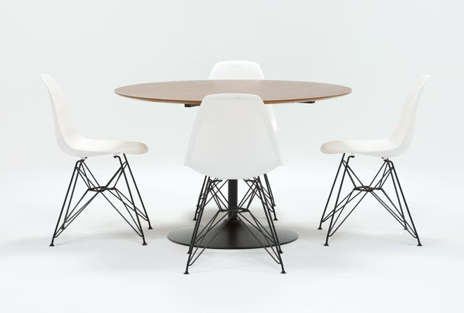 Latest Alexa Firecracker Side Chairs Pertaining To Vespa 5 Piece Round Dining Set With Alexa White Side Chairs (View 2 of 20)