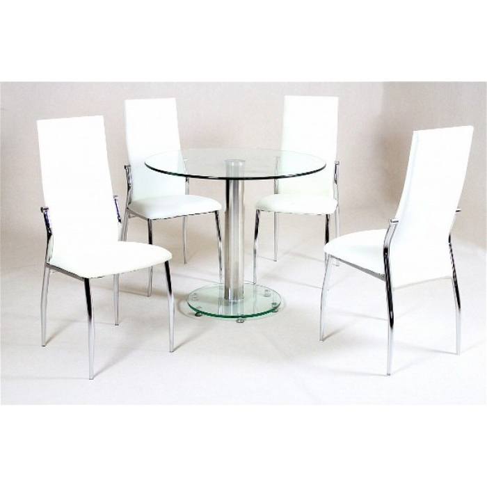 Latest Alonza Clear Dining + 4 Lazio Chairs With Lazio Dining Tables (Gallery 15 of 20)