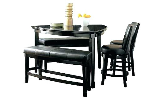 Latest Ashley Furniture Dining Table Set Room Bench Counter Height From Within Hyland 5 Piece Counter Sets With Bench (View 12 of 20)