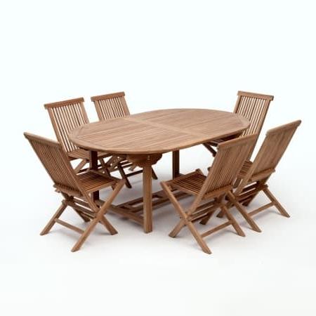 Latest Bali Teak 180 Cm Oval 6 Seat Garden Dining Set (View 9 of 20)