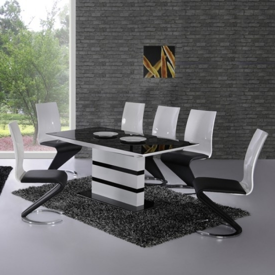 Latest Black High Gloss Dining Chairs Throughout Arctic Black And White High Gloss Extending Dining Table And 4 Leona (View 14 of 20)
