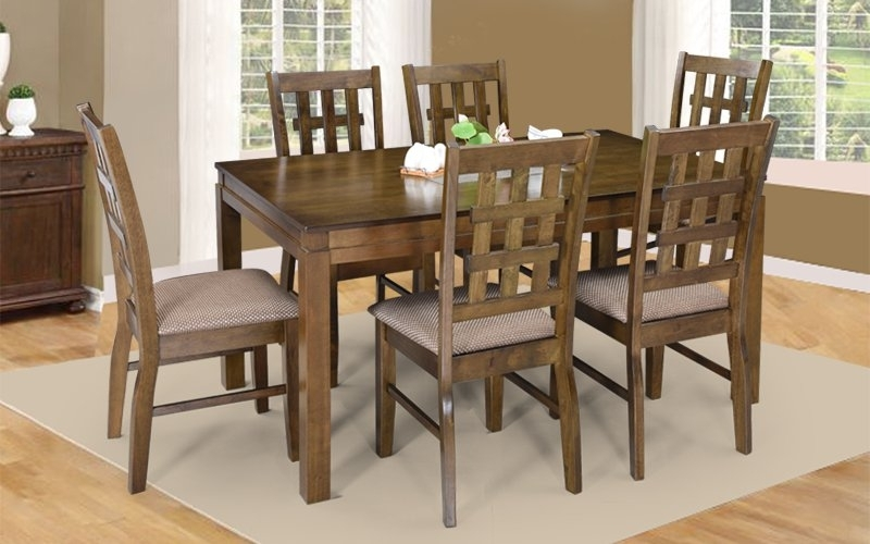 Latest Buy Royaloak Lilly 6 Seater Solidwood Dining Set With Cushioned Intended For Ranger Side Chairs (View 7 of 20)